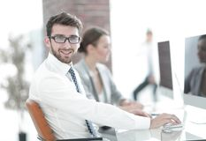 Businessman on blurred background office Stock Photos