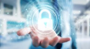Businessman protecting his datas with security interface 3D rend. Businessman on blurred background protecting his datas with security interface 3D rendering Royalty Free Stock Photography