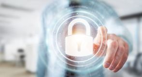 Businessman protecting his datas with security interface 3D rend. Businessman on blurred background protecting his datas with security interface 3D rendering Stock Photos