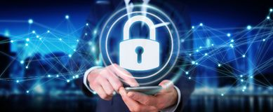 Businessman protecting his datas with security interface 3D rend. Businessman on blurred background protecting his datas with security interface 3D rendering Royalty Free Stock Photos