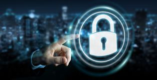 Businessman protecting his datas with security interface 3D rend. Businessman on blurred background protecting his datas with security interface 3D rendering Royalty Free Stock Image