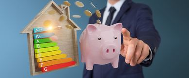 Businessman saving money with good energy chart rating 3D render. Businessman on blurred background saving money with good energy chart rating 3D rendering Stock Photos