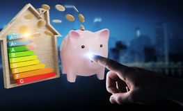Businessman saving money with good energy chart rating 3D render. Businessman on blurred background saving money with good energy chart rating 3D rendering Stock Image