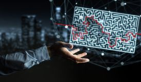 Businessman searching solution of a complicated maze. Businessman on blurred background searching solution of a complicated maze Stock Image