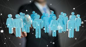Businessman touching 3D rendering group of people with his finge. Businessman on blurred background touching 3D rendering group of people with his finger Stock Photography