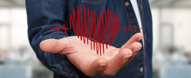 Businessman touching and holding heart beat sketch Stock Image