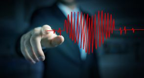 Businessman touching and holding heart beat sketch Stock Photo