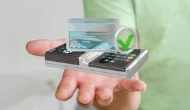 Businessman using contactless terminal payment 3D rendering. Businessman on blurred background using contactless terminal payment 3D rendering Royalty Free Stock Photography