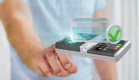 Businessman using contactless terminal payment 3D rendering. Businessman on blurred background using contactless terminal payment 3D rendering Royalty Free Stock Image