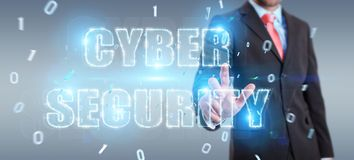 Businessman using cyber security text hologram 3D rendering. Businessman on blurred background using cyber security text hologram 3D rendering Royalty Free Stock Image