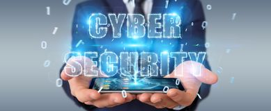 Businessman using cyber security text hologram 3D rendering. Businessman on blurred background using cyber security text hologram 3D rendering Stock Photography