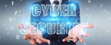 Businessman using cyber security text hologram 3D rendering. Businessman on blurred background using cyber security text hologram 3D rendering Royalty Free Stock Images