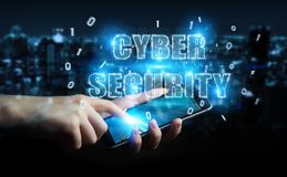 Businessman using cyber security text hologram 3D rendering. Businessman on blurred background using cyber security text hologram 3D rendering Stock Image