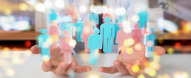 Businessman using 3D rendering group of people. Businessman on blurred background using 3D rendering group of people Royalty Free Stock Image