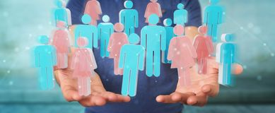 Businessman using 3D rendering group of people. Businessman on blurred background using 3D rendering group of people Stock Photo