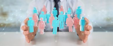 Businessman using 3D rendering group of people. Businessman on blurred background using 3D rendering group of people Stock Image