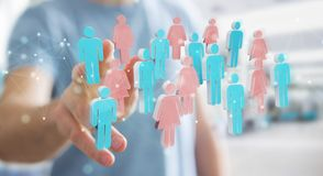 Businessman using 3D rendering group of people. Businessman on blurred background using 3D rendering group of people Royalty Free Stock Photo