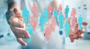 Businessman using 3D rendering group of people. Businessman on blurred background using 3D rendering group of people Royalty Free Stock Photography