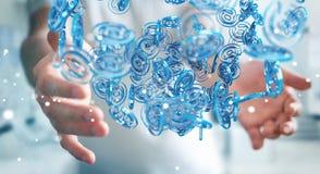 Businessman using digital arobase blue sphere to surf on interne. Businessman on blurred background using digital arobase blue sphere to surf on internet 3D Royalty Free Stock Photo