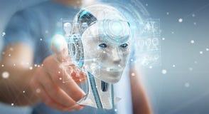 Businessman using digital artificial intelligence interface 3D r. Businessman on blurred background using digital artificial intelligence interface 3D rendering Stock Image
