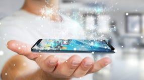 Businessman using digital binary code on mobile phone 3D renderi. Businessman on blurred background using digital binary code on mobile phone 3D rendering Stock Image