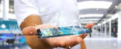 Businessman using digital binary code on mobile phone 3D renderi. Businessman on blurred background using digital binary code on mobile phone 3D rendering Royalty Free Stock Images