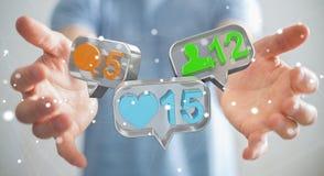 Businessman using digital colorful social media icons 3D renderi Royalty Free Stock Photos