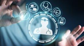 Businessman using digital medical interface 3D rendering. Businessman on blurred background using digital medical interface 3D rendering Stock Photo