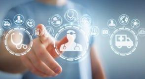 Businessman using digital medical interface 3D rendering. Businessman on blurred background using digital medical interface 3D rendering Royalty Free Stock Photo