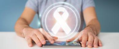 Businessman using digital ribbon cancer interface 3D rendering. Businessman on blurred background using digital ribbon cancer interface 3D rendering Stock Photos