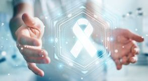 Businessman using digital ribbon cancer interface 3D rendering. Businessman on blurred background using digital ribbon cancer interface 3D rendering Stock Image