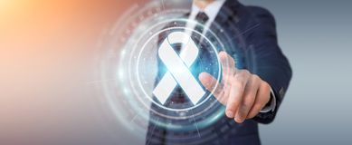 Businessman using digital ribbon cancer interface 3D rendering. Businessman on blurred background using digital ribbon cancer interface 3D rendering Stock Photography