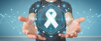 Businessman using digital ribbon cancer interface 3D rendering. Businessman on blurred background using digital ribbon cancer interface 3D rendering Royalty Free Stock Photography