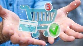 Businessman using digital shopping icons 3D rendering Stock Photos