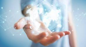 Businessman using digital world map interface 3D rendering vector illustration