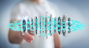 Businessman using floating modern gear mechanism 3D rendering. Businessman on blurred background using floating gear icons 3D rendering Royalty Free Stock Photos