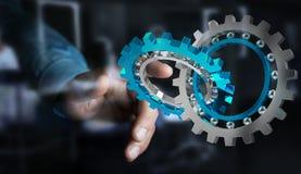 Businessman using floating modern gear mechanism 3D rendering. Businessman on blurred background using floating gear icons 3D rendering Stock Images
