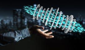 Businessman using floating modern gear mechanism 3D rendering. Businessman on blurred background using floating gear icons 3D rendering Stock Photos