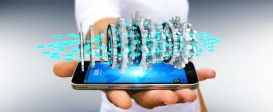 Businessman using floating modern gear mechanism 3D rendering. Businessman on blurred background using floating gear icons over phone 3D rendering Stock Images