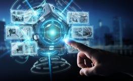 Businessman using futuristic drone security camera 3D rendering stock illustration