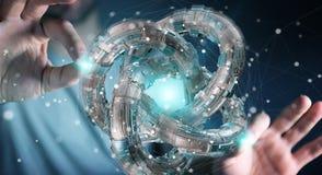 Businessman using futuristic torus textured object 3D rendering Stock Image