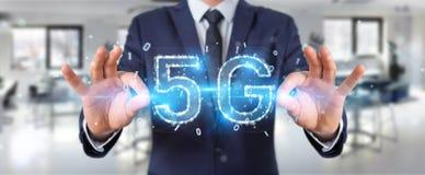 Businessman using 5G network digital hologram 3D rendering. Businessman on blurred background using 5G network digital hologram 3D rendering Vector Illustration