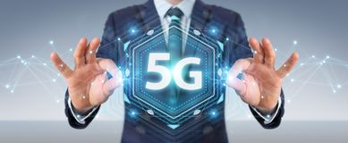Businessman using 5G network interface 3D rendering. Businessman on blurred background using 5G network interface 3D rendering Vector Illustration