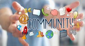 Businessman using hand-drawn community presentation. Businessman on blurred background using hand-drawn community presentation Stock Image