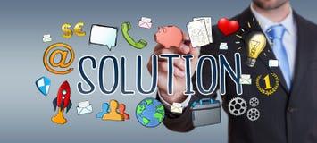 Businessman using hand-drawn solution presentation. Businessman on blurred background using hand-drawn solution presentation Royalty Free Stock Photo