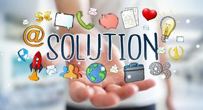 Businessman using hand-drawn solution presentation. Businessman on blurred background using hand-drawn solution presentation Stock Photo