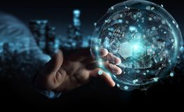 Businessman using holograms datas digital sphere 3D rendering. Businessman on blurred background using holograms datas digital sphere 3D rendering Royalty Free Stock Image