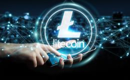 Businessman using litecoins cryptocurrency 3D rendering. Businessman on blurred background using litecoins cryptocurrency 3D rendering Royalty Free Stock Photo