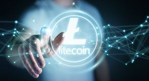 Businessman using litecoins cryptocurrency 3D rendering. Businessman on blurred background using litecoins cryptocurrency 3D rendering Stock Photos