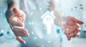 Businessman using real estate digital interface 3D rendering. Businessman on blurred background using real estate digital interface 3D rendering Royalty Free Stock Images